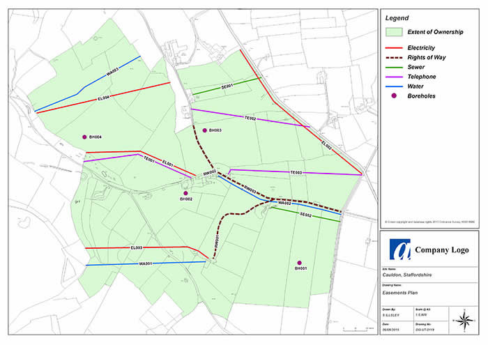GIS & Mapping Services - An example of a Easements Plan